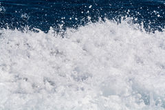 Deep blue sea surface with white waves foam, background, copy sp Royalty Free Stock Image