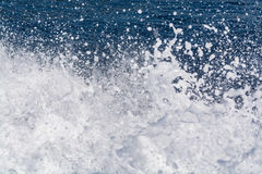 Deep blue sea surface with white waves foam, background, copy sp Royalty Free Stock Photo