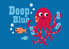 Deep blue sea. Vector illustration of an octopus and fish swimming Stock Photo