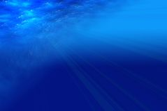 Deep blue sea view. Deep blue sea, view form beneath the water (ray lights Stock Images