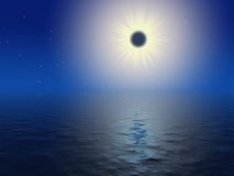 Deep blue sky. And dark sun Royalty Free Stock Images