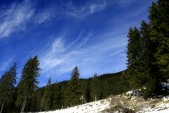 Deep blue sky. Beginning of winter in Piatra Craiului mountains Royalty Free Stock Photography