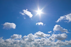 Deep blue sky and summer sun. Royalty Free Stock Image