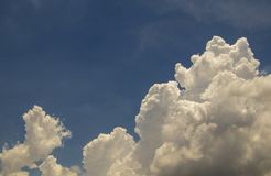 Deep blue sky and white cloud background. royalty free stock image
