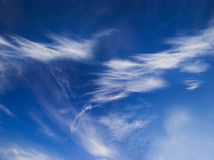 Deep blue sky with white clouds. Perfect background. Place for copy text stock image