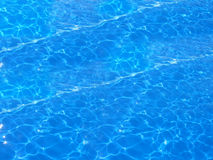 Deep blue swimming pool. Isolated shot of the water in a swimming pool with lots of squiggly lines from the refracted light royalty free stock photo