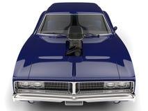 Deep blue vintage American muscle car - front view closeup shot Stock Photos