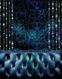 Deep blue vip section of an expensive club or restaurant. Stock Photo
