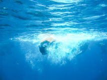 Deep in blue water. And drop to the  sea Stock Photo