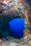 Deep blue water at an underwater cave exit Royalty Free Stock Photos