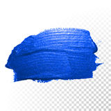 Deep blue watercolor brush abstract stroke. Vector oil paint smear Royalty Free Stock Photos