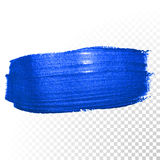 Deep blue watercolor brush abstract stroke. Vector oil paint smear Royalty Free Stock Photo
