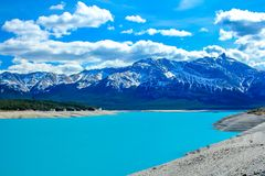 Deep blue waters of Lake Abraham. Along Hwy 11 into Banff National Park, Alberta, Canada Royalty Free Stock Photo