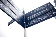 Deep bluecity  signpost in Chinese Royalty Free Stock Photos