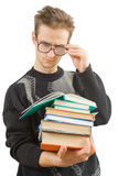 Deep in the books sphere. The student read's the lesson for the next class Stock Image