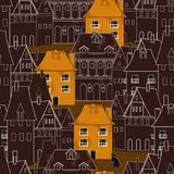 Deep brown house on pattern Royalty Free Stock Photography