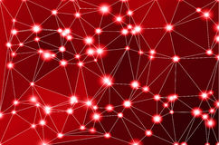 Deep burgundy red geometric background with mesh and lights Stock Photography