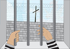 Deep calling deep. Prisoner hope in heavenly salvation vector illustration