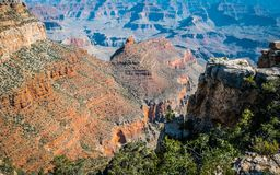 Deep canyon of the Grand Canyon and the rock Ship. South Rim, Grand Canyon National Park Stock Image