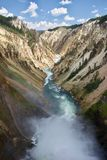Deep canyon with river and falls stock photos