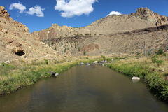 Deep canyon river. A narrow and deep canyon river at Smith rock national park Oregon America Stock Images