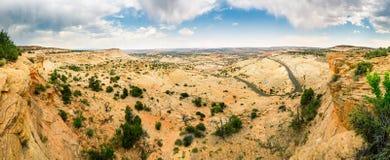 Deep canyon, rocks and mountains Stock Image