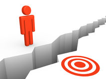 Deep chasm between human and target. Stock Photo