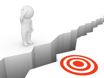 Deep chasm between human and target. Stock Images