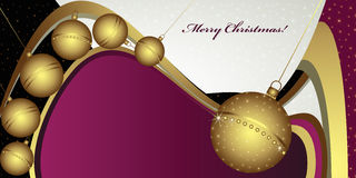 Deep Christmas greeting with globes. And golden decoration Stock Image