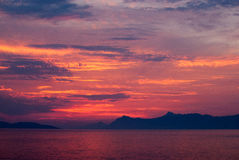 Deep colourful sunet over the sea Royalty Free Stock Photo