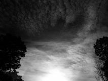 Deep contrast. Country sky in black and white Royalty Free Stock Image
