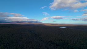 Deep contrast evening landscape aerial. Deep contrast evening sky and forest aerial stock video footage