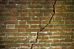 Deep crack in a brick wall Stock Image