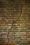 Deep crack in a brick wall Royalty Free Stock Photos
