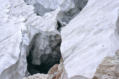 Deep crack in the glacier Stock Image