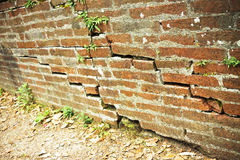 Deep crack in old brick wall Royalty Free Stock Image