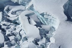 Deep crevasses in the Aletsch glacier. Royalty Free Stock Photography