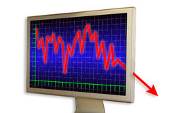 Deep crisis is out of control. Financial diagram on a real computer monitor (with shadows on white Stock Photo
