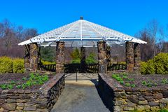 Deep Cut Gardens Gazebo - Direct View. Close up view of the gazebo at Deep Cut Gardens at Middletown, NJ, in the early Spring stock images