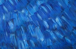 Deep dark blue sky on a sunny summer. Oil painting on canvas. Deep dark blue sky on a sunny summer day. Large lanes. Sleek palette knife texture Stock Photography
