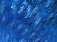 Deep dark blue sky on a sunny summer. Oil painting on canvas. Deep dark blue sky on a sunny summer day. Large lanes. Sleek palette knife texture Royalty Free Stock Image