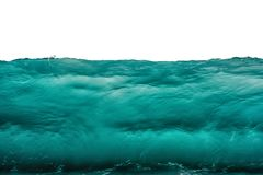 Deep dark turquoise blue underwater background isolated on white. Sea or ocean storm wave front view. Climate nature concept.  stock photo