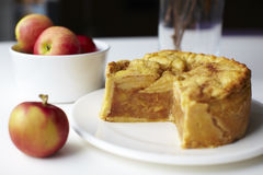 Deep-dish apple pie with apples Stock Image