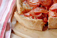 Deep Dish Pepperoni Pizza Royalty Free Stock Image