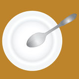 Deep dish and spoon Royalty Free Stock Images