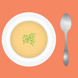 Deep dish and spoon. Soup in a deep dish with spices and spoon. Vector illustration Royalty Free Stock Photography