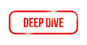 Deep dive - red grunge rubber, stamp.  Stock Photo