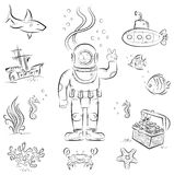 Deep diving. Sketch set of funny cartoon izolated objects on underwater diving theme Stock Image