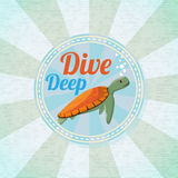 Deep diving ocean turtle. Retro background Royalty Free Stock Photo