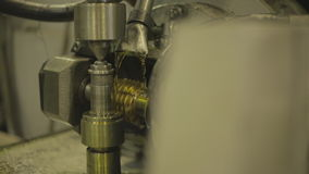 Deep drilling on machine using lubricating oil cooling system. stock video footage